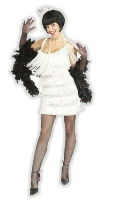 1920s White Flapper Costume Womens Fancy Dress Fringe 20s Roaring Twenties Med - Roaring Twenties Dresses Flappers