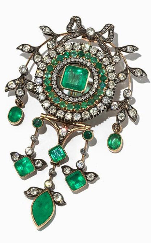 4.26ct ROSE CUT DIAMOND EMERALD 925 SILVER VICTORIAN LOOK ANNIVERSARY BROOCH PIN