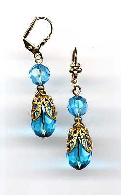 BEAUTIFUL AQUAMARINE crystal BRIOLETTE FILIGREE EARRINGS 14K Gold gp *Vtg Czech