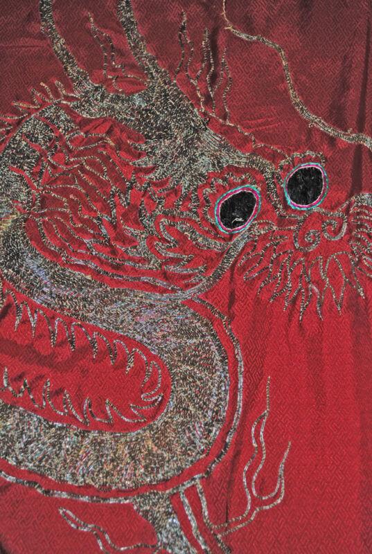 Vintage Japanese Red Embroidered Silk Kimono Three Toed Dragon