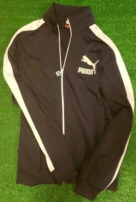 Puma Zip Up Track Jacket Navy Blue Mens Large Activewear Workout