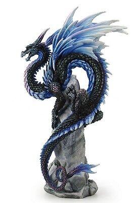 """10"""" Sapphire Sentinel by Andrew Bill Dragon Fantasy Home Decor Gothic Statue"""