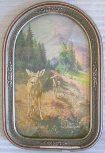 Antique W.A. Carson Print w. Cathedral Convex Bubble Glass Frame
