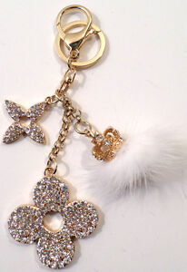 CROWN-POM-POM-FLOWER-DROP-RHINESTONE-BLING-KEY-CHAIN-FOB-PURSE-PHONE-CHARM
