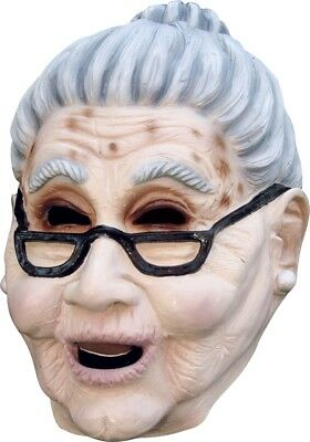 Old Lady Mask Grey Bun Latex Grandma Halloween Costume Accessory Over the Hill - Halloween Mask Old Lady