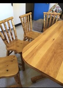Solid wood table set! Beautiful Piece