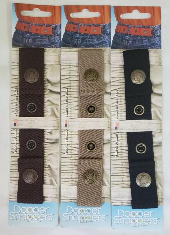 Lot 3 Dapper Snappers Adjustable Snap Belt Kids Child Toddler Black Beige Brown