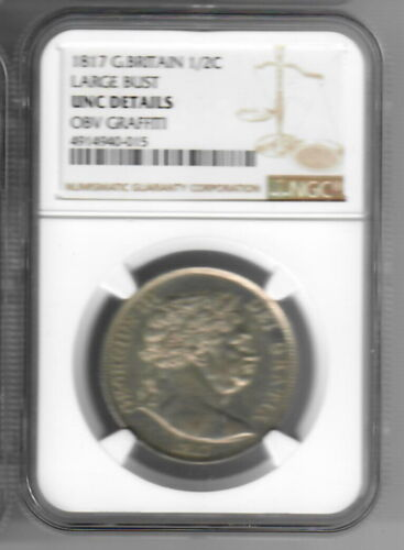 1817 Great Britain Half Crown NGC Unc Details Obv Graffiti