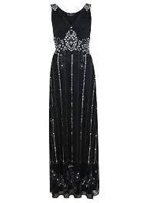 Miss Selfridge Black Empire Beaded Maxi Dress Ladies Size 10 Box10 29 e