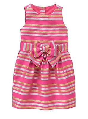 Nwt Gymboree Girl Family Brunch Bright Pink Stripe Shimmer Dress  7 8 10 12