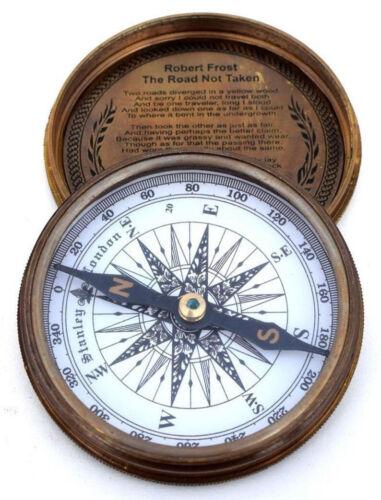 Vintage Maritime Marine Compass Poem Engraved Brass Compass Gift