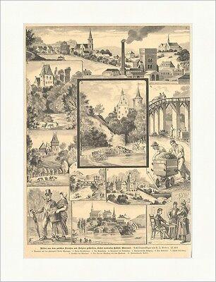Bilder aus dem bisher neutralen Moresnet Belgien Preuß. Weber Holzstich E 15465