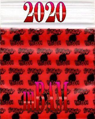 100 Pack Stay High Bomb 2020 Apple Ziplock Baggies 2.0x2.0 Mini Bags