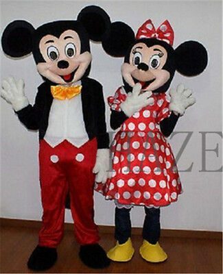 Erwachsene Anzug Größe Mickey Mouse & Minnie Mouse Maskottchen Cosplay Kostüm - Minnie Mickey Kostüm