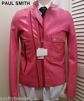 PAUL SMITH pink patent leather jacket asymmetrical hot neon nr cafe racer slim -