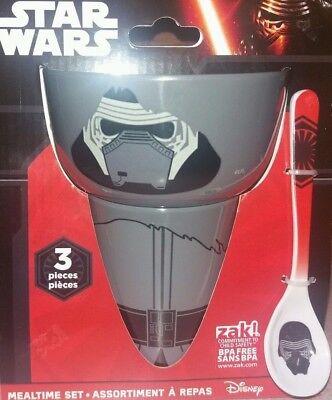 Star Wars Zak 3 Piece Mealtime Set Kylo Ren Bowl Cup and Spoon Toddler BPA - Toddler Mealtime Set
