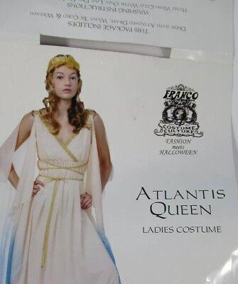Greek Goddess Look (Goddess Costume Greek Atlantis Queen 2 Tone Gown & Gold Laurel Wreath Size)