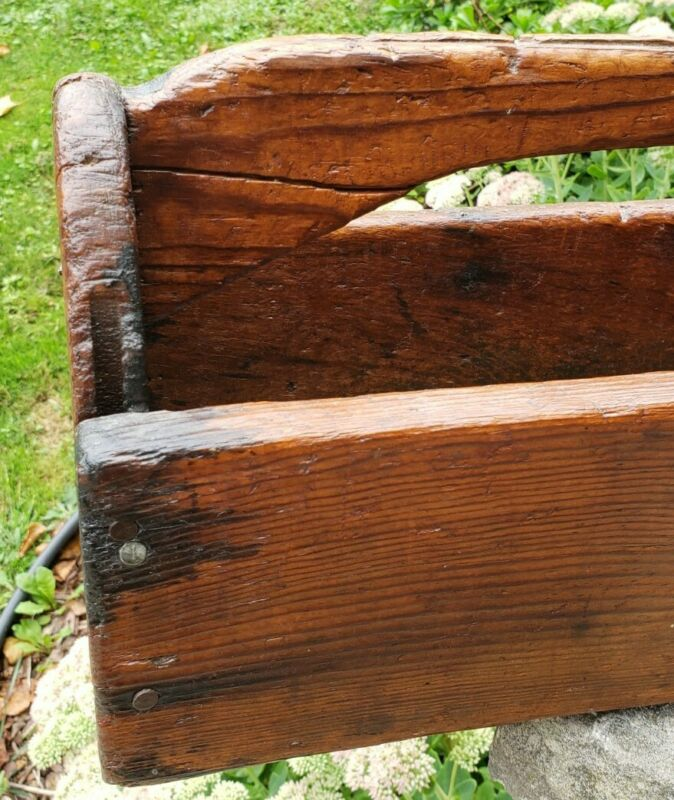Antique Primitive Wooden Saw Handyman Tool Box Toolbox