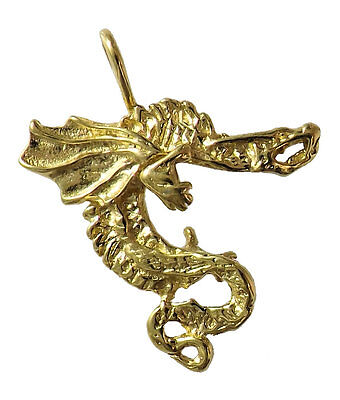 Oriental winged Dragon Pendant / Charm EP Gold Plated Lifetime Guarantee!
