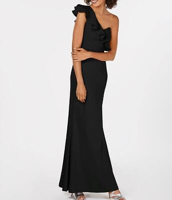 Calvin Klein Womens Black Formal Ruffled One Shoulder Evening Dress Long Gown 10