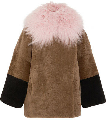 - Saks Potts Suz Rose Color Block Shearling Teddy Coat Tibetan Lamb Fur Size 1