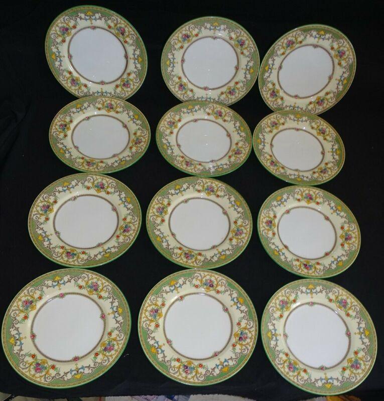 "Mintons England Kenora B1148 Set of 12 Salad Plates - Green 7 3/4"""