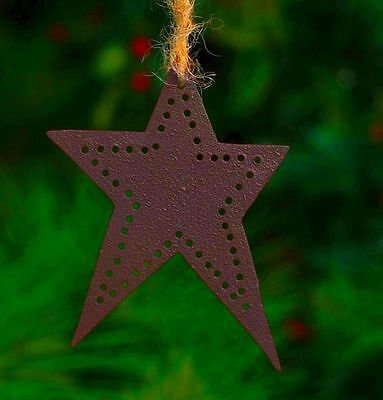 Hand Punched Tin Primitive Early American Rustic Barn Star Ornament Set Of 6
