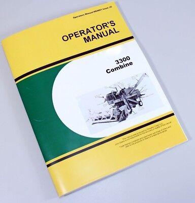 Operators Manual For John Deere 3300 Combine Owners Maintenance Adjustments