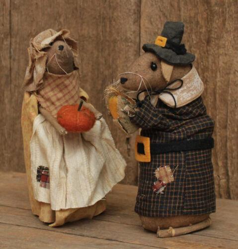 Primitive Pilgrim Mice -- 2 pc Set -- Thanksgiving