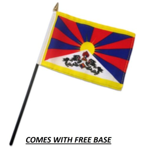 TIBET  FLAG DESK SET WITH BASE 4x6 INCHES - TABLE STICK FLAG