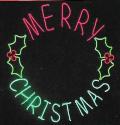 """41"""" LED NEON LIGHTED MERRY CHRISTMAS SIGN WREATH  LED LIGHTS NEW"""