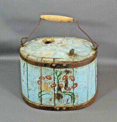 Antique Primitive Wooden Water Wine Bucket Drum Barrel Canteen Handle Old Paint