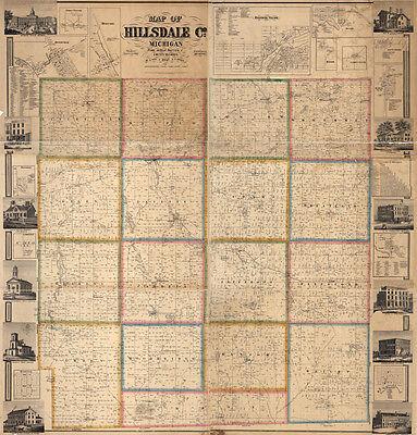 1857 Farm Line Map of Hillsdale County Michigan Jonesville LARGE 40 x 42