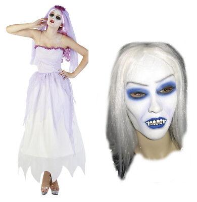 Zombie Braut Geisterbraut Geist fliederfarben Kostüm Gr M Maske Halloween