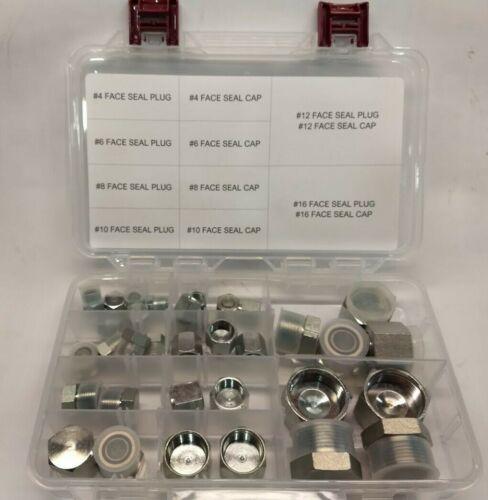 Hydraulic  Flat Face / Face Seal Cap & Plug Kit . 38PC Set.  #4-#16 w/Case