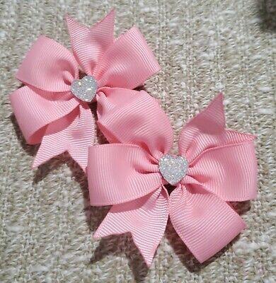 Set of 2 Light pink pin wheel hair bow girl nonslip alligator clip handmade  (Bow Of Light)