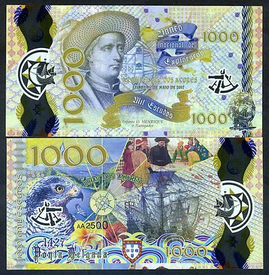 Portuguese Azores, 1000 Escudos 2017, Clear Window Polymer, Henry the Navigator