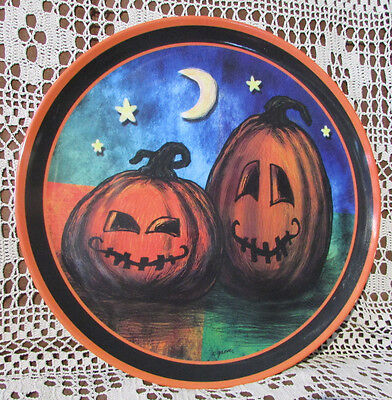"""HALLOWEEN Pumpkin Images SERVING TRAY Classic 14"""" Round 2012 Citris Grove Clean"""