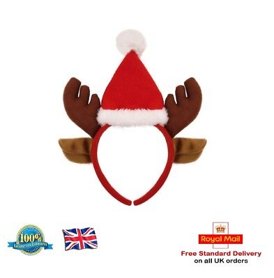 Christmas Reindeer Headband - Novelty Xmas Party Kids Fancy Dress Headwear Hat