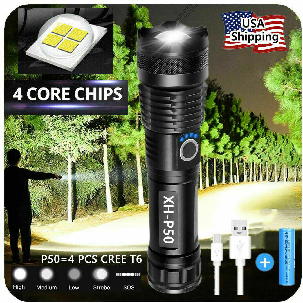Super-Bright  90000LM LED Tactical Flashlight With Rechargeable Battery Camping & Hiking