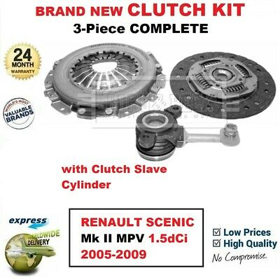 FOR RENAULT SCENIC Mk II MPV 1.5dCi 2005-2009 BRAND NEW 3-PC CLUTCH KIT with CSC