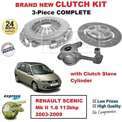 FOR RENAULT SCENIC Mk II 1.6 113bhp 2003-2009 BRAND NEW 3PC CLUTCH KIT with CSC