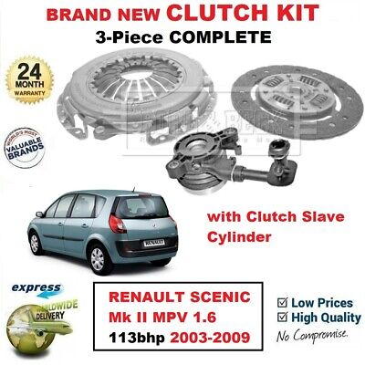FOR RENAULT SCENIC II MPV 1.6 113bhp 2003-2009 BRAND NEW 3PC CLUTCH KIT with CSC