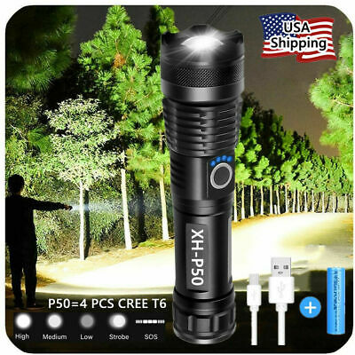 Super-Bright 90000LM LED Tactical Flashlight With Rechargeable Battery