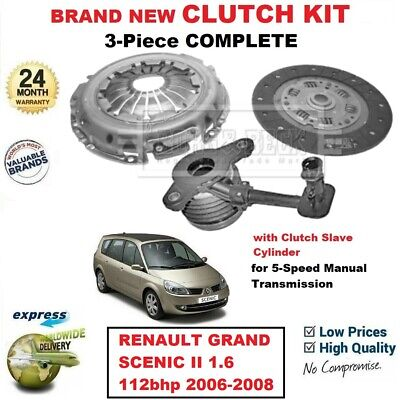 FOR RENAULT GRAND SCENIC II 1.6 112bhp 2006-2008 BRAND NEW 3PC CLUTCH KIT + CSC