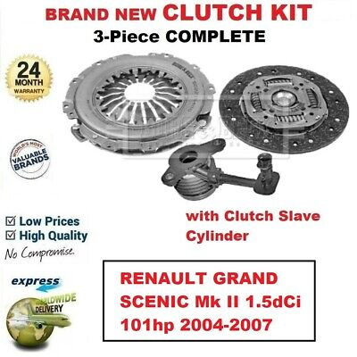 FOR RENAULT GRAND SCENIC Mk II 1.5dCi 101hp 2004-2007 NEW 3PC CLUTCH KIT and CSC