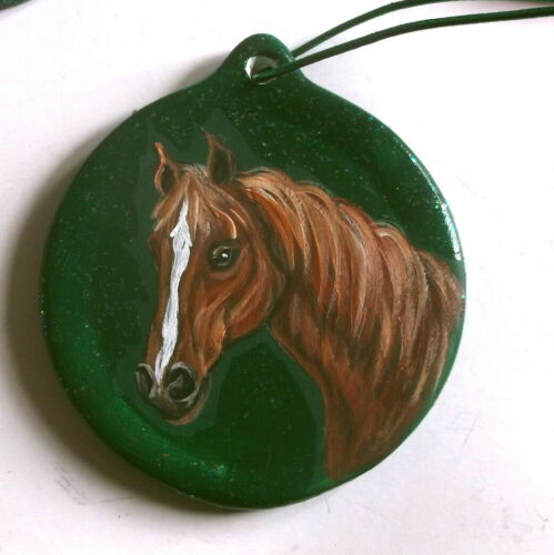 Brown Horse Christmas Ornament Decoration Hand Painted Ceramic