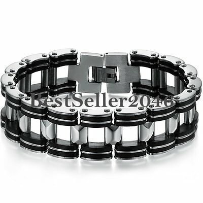 Silver Stainless Steel Black Rubber Motorcycle Biker Mens Chain Link Bracelet