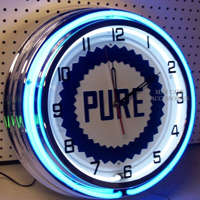 """18"""" PURE Gasoline Motor Oil Gas Station Sign Double Neon Clock"""