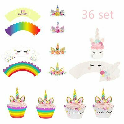 Unicorn Cupcake Toppers and Wrappers Kids Birthday Party Favors Cake Decorations